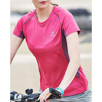 Active Short Sleeve Round Neck Hit Color Flex Quick-Dry Women's Sport Shirt - ROSE L