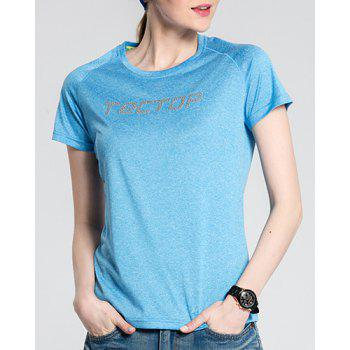 Active Pure Color Short Sleeve  Thin Soft Outdoor Shirt For Women - AZURE M