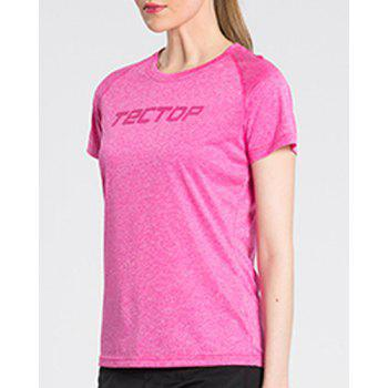 Active Pure Color Short Sleeve  Thin Soft Outdoor Shirt For Women - ROSE S