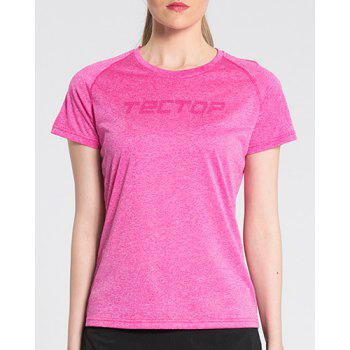 Active Pure Color Short Sleeve  Thin Soft Outdoor Shirt For Women - ROSE L