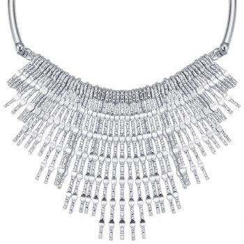 Long Strips Fringed Embossed Necklace