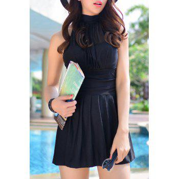 Halter Pleated Swim Dress and Boxers Two-Piece Swimwear