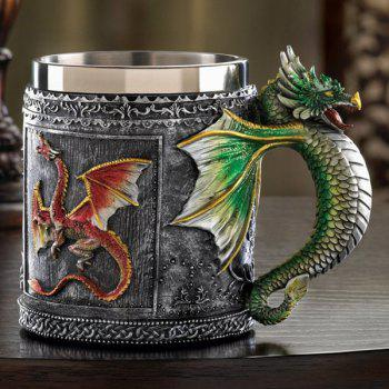 High Quality 350ML Retro Style Office Drinking Cup Dragon Embellished Stainless Steel Mug