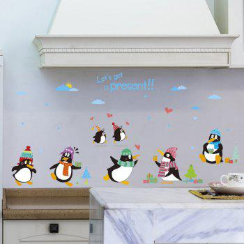 Chic Cartoon Animals Penguins Pattern Wall Sticker For Kindergarten Children's Bedroom