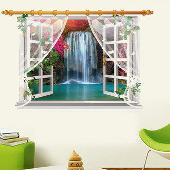 Chic 3D Window Waterfall Landscape Pattern Wall Sticker For Livingroom Bedroom Decoration - COLORMIX