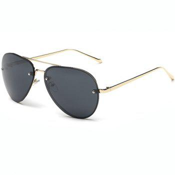 Fashion Small Screw Embellished Golden Sunglasses For Unisex Aviator - BLACK BLACK