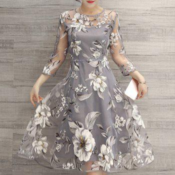 Buy See-Through Floral Print Dress LIGHT GRAY