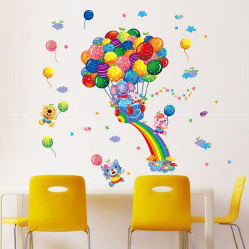 Chic Colorful Ballon Cartoon Animals Pattern Wall Sticker For Kindergarten Children's Bedroom