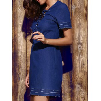 Women's Plunging Neck Blue Short Sleeve Denim Dress