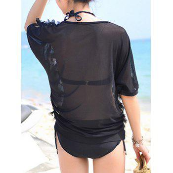 Trendy Halter Twist Bikini Suit and See-Through Cover-Up Three-Piece Swimwear For Women - BLACK M