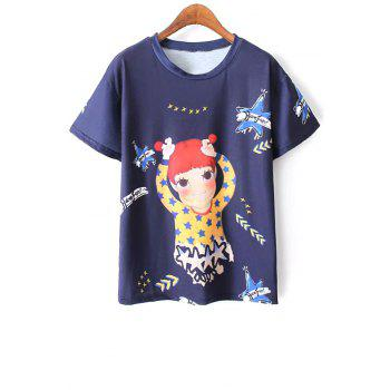 Casual Round Neck Short Sleeve Cartoon Print Women's Blue T-Shirt