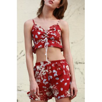 Stylish Cami Floral Crop Top and Wide Leg Shorts Women's Suit
