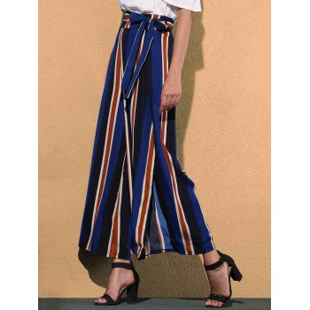 Trendy Mid Waist Colorful Striped High Slit Loose Women's Pants - COLORMIX S
