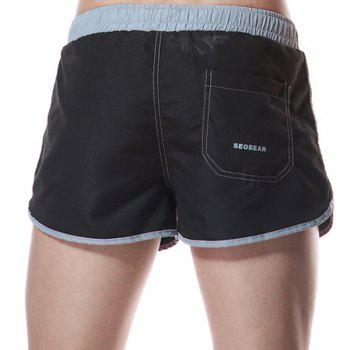 Color Block Letters Print One Pocket Men's Lace-Up Home Shorts - BLACK BLACK