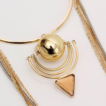 Gorgeous Multilayer Chain Faux Gem Ball Shape Decorated Necklace For Women - GOLDEN