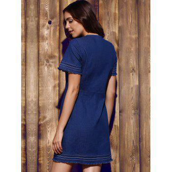 Women's Plunging Neck Blue Short Sleeve Denim Dress - BLUE L