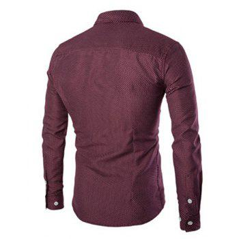 Wrinkle Design Polka Dot Turn-Down Collar Long Sleeve Men's Shirt - WINE RED XL