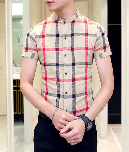 Slim Fit Plaid Stand Collar Short Sleeves Shirt For Men - NUDE M