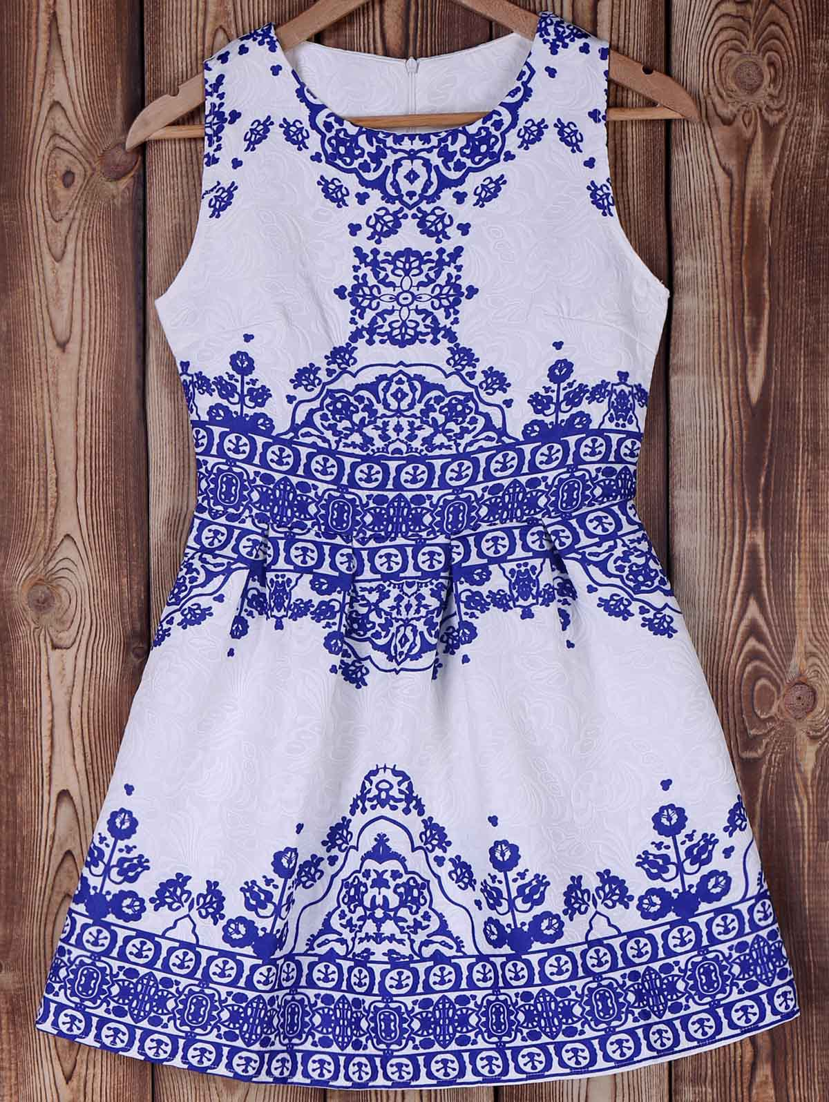 Elegant Blue and White Porcelain Print Summer Dress For Women - BLUE M