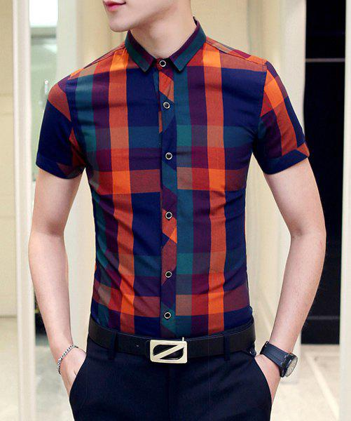 Slim Fit Short Sleeves Plaid Shirt For Men - CHECKED L