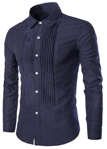 Wrinkle Design Polka Dot Turn-Down Collar Long Sleeve Men's Shirt - L CADETBLUE
