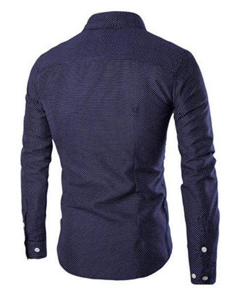 Wrinkle Design Polka Dot Turn-Down Collar Long Sleeve Men's Shirt - CADETBLUE XL