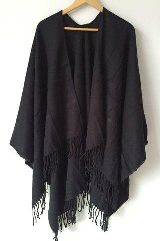 Chic Tassel Embellished Solid Color Women's Warmth Pashmina - BLACK