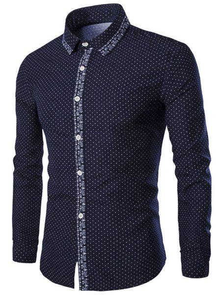 Flower Print Polka Dot Turn-Down Collar Long Sleeve Men's Shirt - DEEP BLUE M