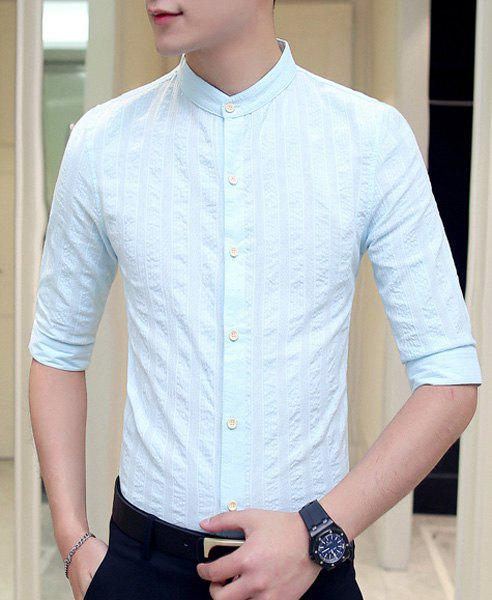 Slim Fit Flax Solid Color Short Sleeves Shirt For Men - LIGHT BLUE M