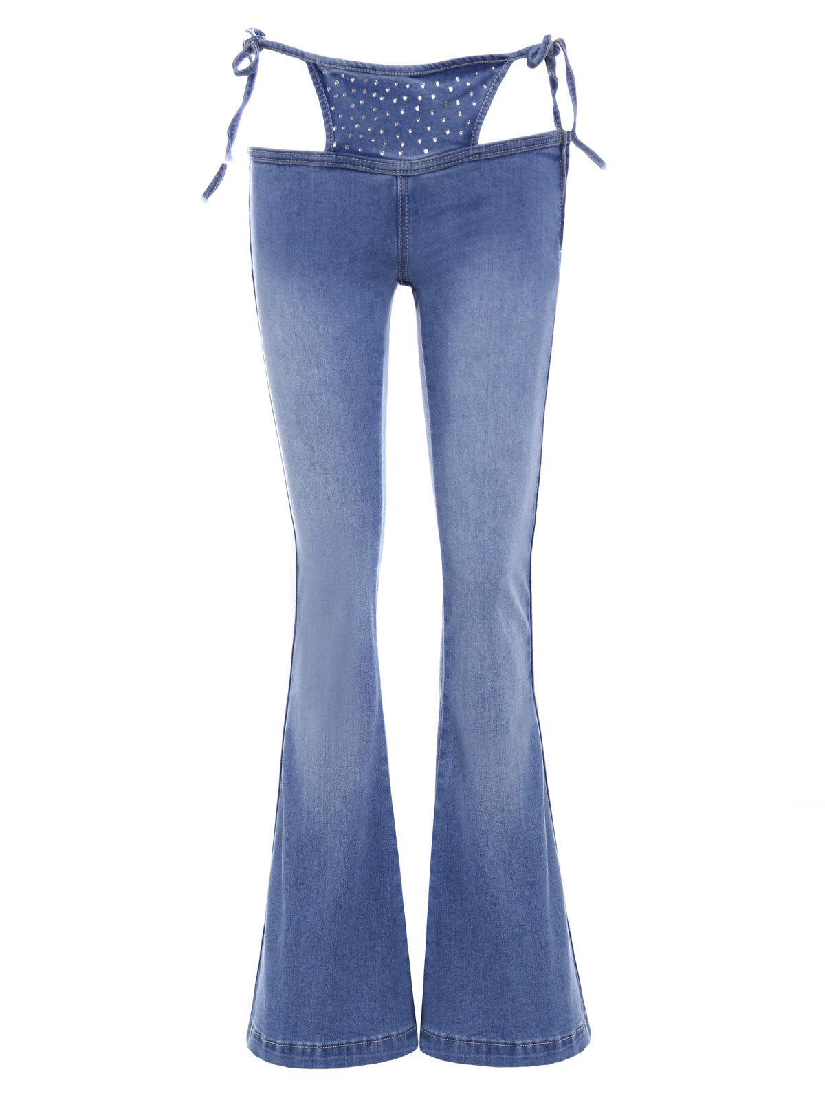 Novelty Cut Out Low-Waist Flare Jeans For Women - BLUE S