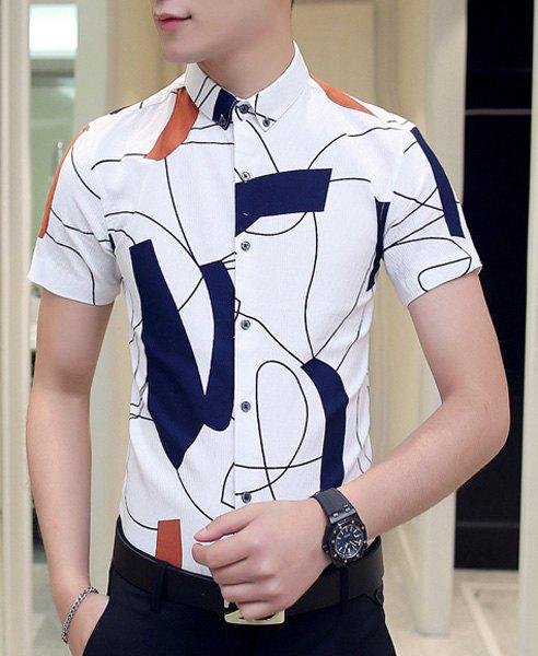 Slim Fit Short Sleeves Irregular Shape Printing Shirt For Men - WHITE 2XL
