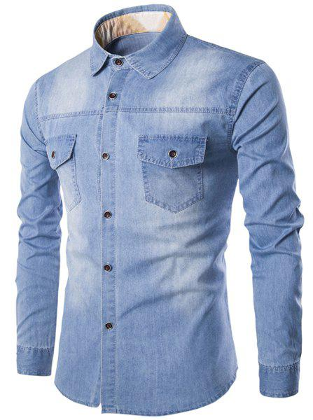 Pockets Design Bleach Wash Turn-Down Collar Long Sleeve Men's Denim Shirt