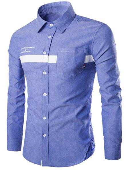 Stripe and Letters Print Turn-Down Collar Long Sleeve Men's Shirt - LIGHT BLUE L