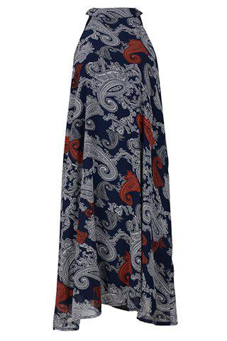 Stylish Round Neck Sleeveless Tribal Print High Low Dress For Women