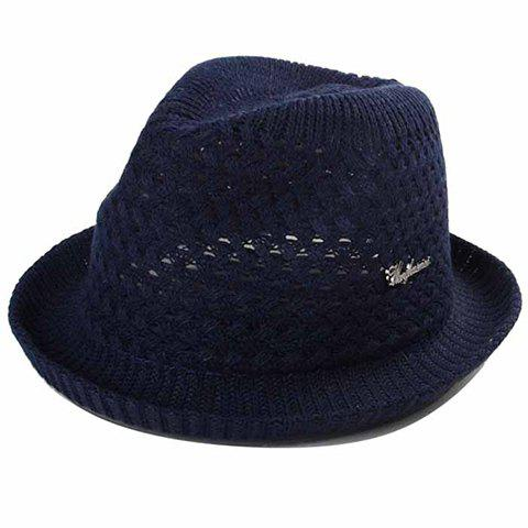 Stylish Letter Shape Labelling Hollow Out Men's Weaving Straw Hat - PURPLISH BLUE