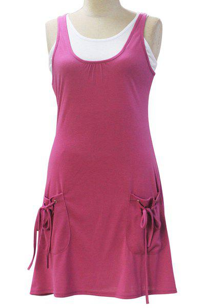 Chic Sleeveless White Tank Top + Solid Color Pocket Design Dress Women's Twinset - ROSE M
