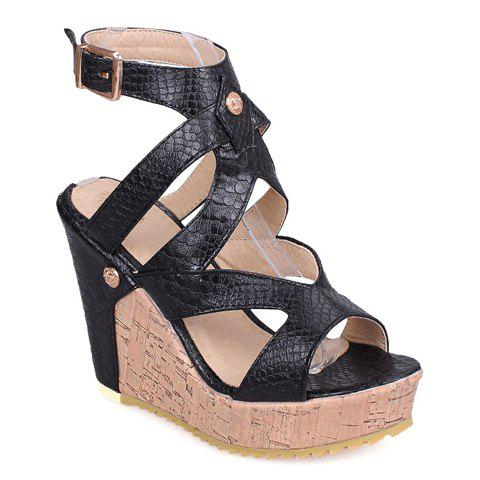Stylish Embossing and Platform Design Women's Sandals - BLACK 36