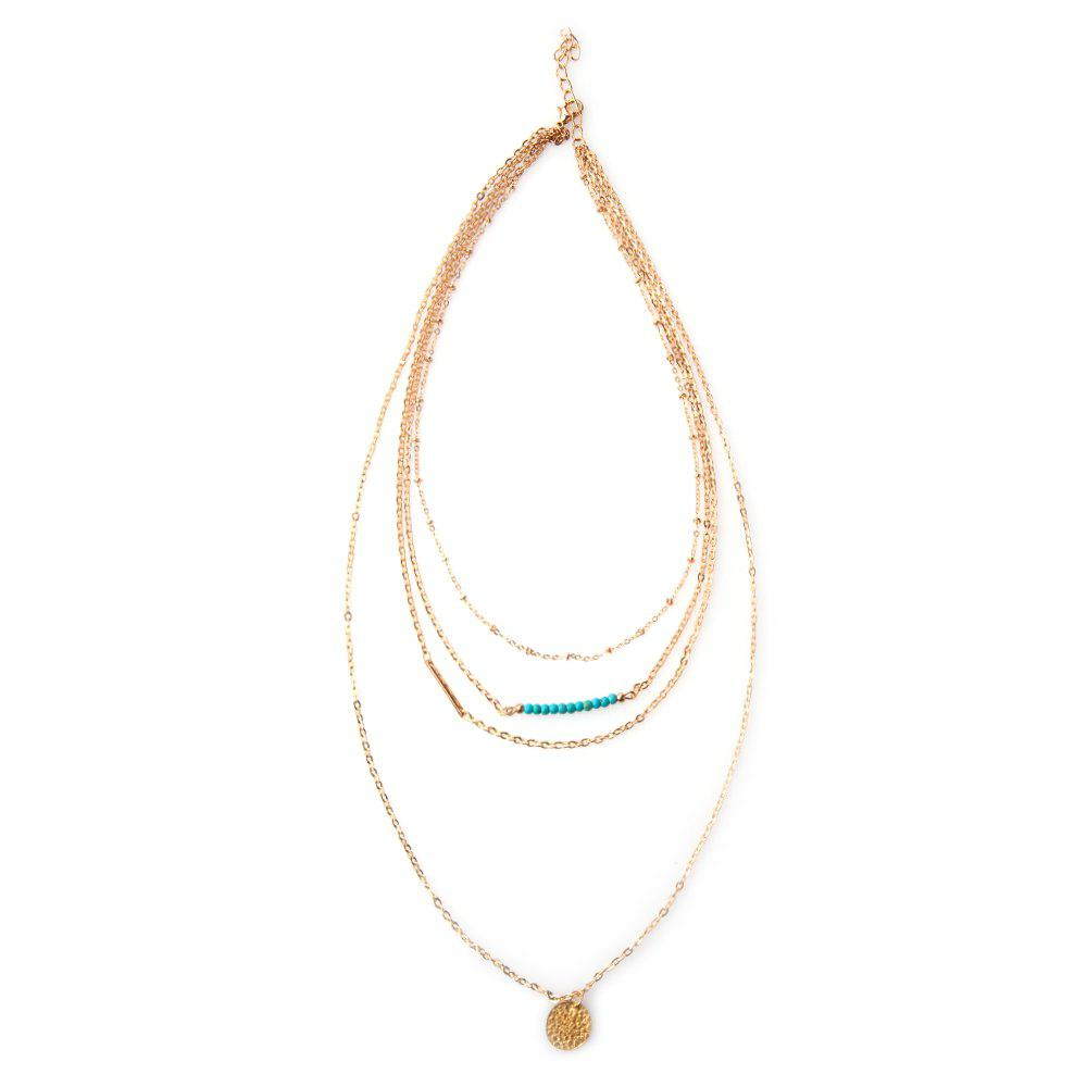Layered Beads Round Link Design Necklace - GOLDEN