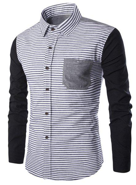 Stripe Print Spliced Design Turn-Down Collar Long Sleeve Men's Shirt - BLACK L