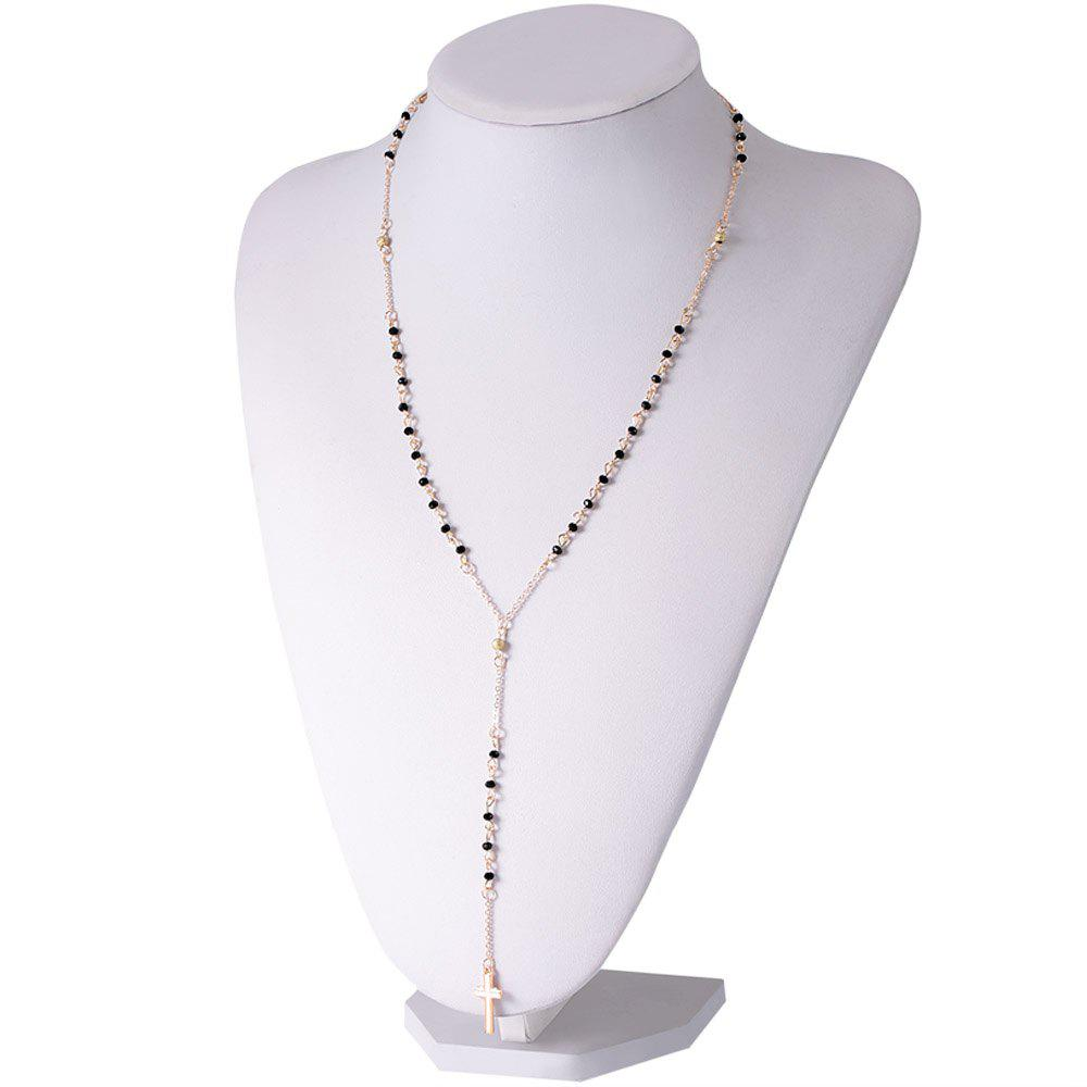 Stylish Chic Beads Cross Pendant Design Sweater Chain Necklace For Women - COLORMIX
