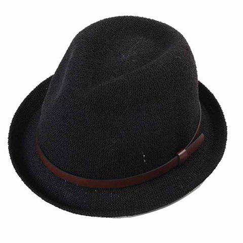 Stylish Adjustable PU Belt Embellished Men's Flanging Straw Hat - BLACK
