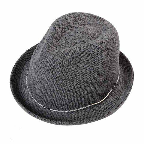 Stylish Simple Rope Embellished Men's Flanging Straw Hat - DEEP GRAY
