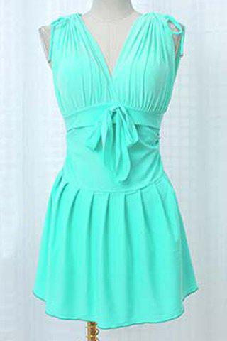 Chic Push Up Pure Color Swim Dress and Boxers Two-Piece Swimwear For Women