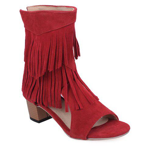 Fashionable Chunky Heel and Fringe Design Women's Sandals - RED 35