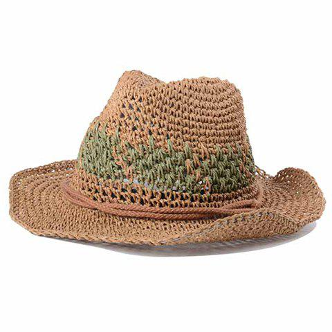 Chic Rope Embellished Sun-Resistant Women's Straw Hat