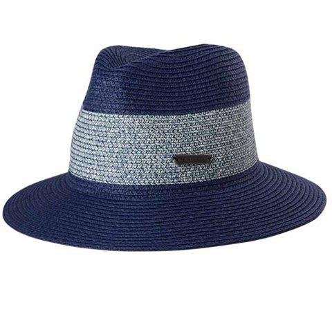 Chic Labelling Embellished Color Block Sun-Resistant Women's Straw Hat - PURPLISH BLUE