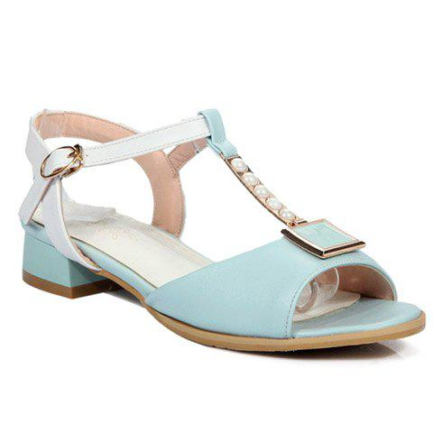 Stylish Colour Block and Beading Design Women's Sandals - LIGHT BLUE 38