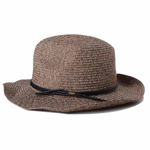 Stylish Double PU Rope Embellished Sun-Resistant Men's Straw Hat - LIGHT COFFEE