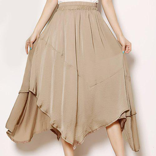 Elegant Women's Elastic Waist Solid Color Skirt - CAMEL ONE SIZE(FIT SIZE XS TO M)