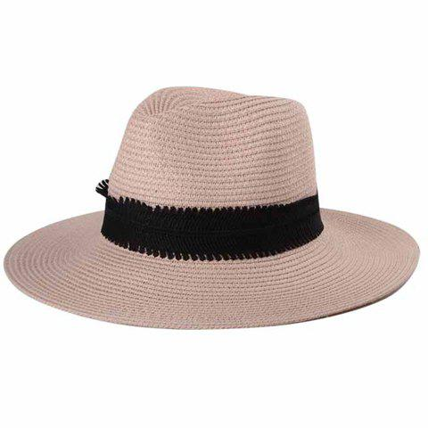 Chic Black Wide Band Embellished Sun-Resistant Women's Straw Hat - PINK